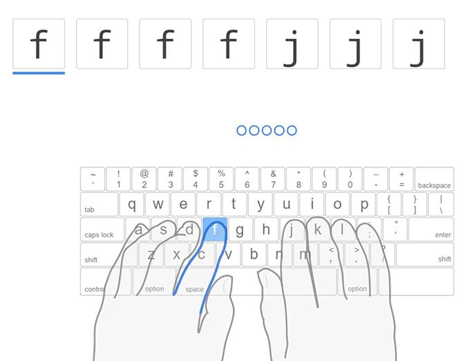 TypingClubの最初の練習はFとJのキー