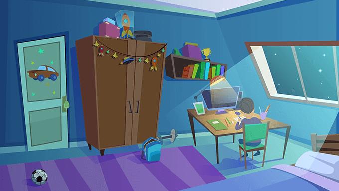デスクトップパソコンのある子供部屋