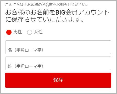 BIGメンバーの登録フォーム